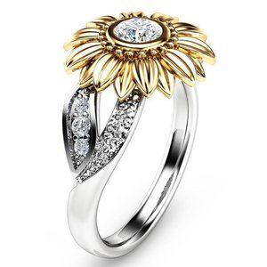 NEW 18K White&Yellow Gold Diamond Sunflower Ring